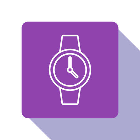 White line Wrist watch icon isolated on white background. Wristwatch icon. Purple square button. Vector