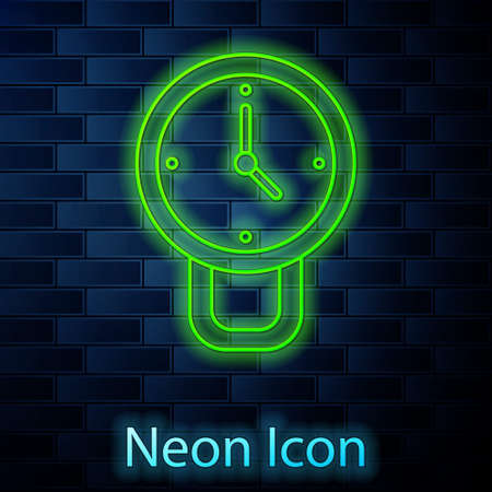 Glowing neon line Clock icon isolated on brick wall background. Time symbol. Vector