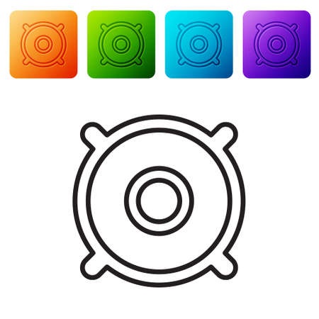 Black line Car audio speaker icon isolated on white background. Set icons in color square buttons. Vector