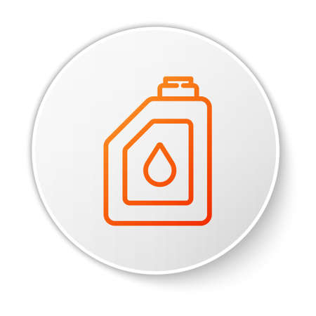 Orange line Canister for motor machine oil icon isolated on white background. Oil gallon. Oil change service and repair. Engine oil sign. White circle button. Vector