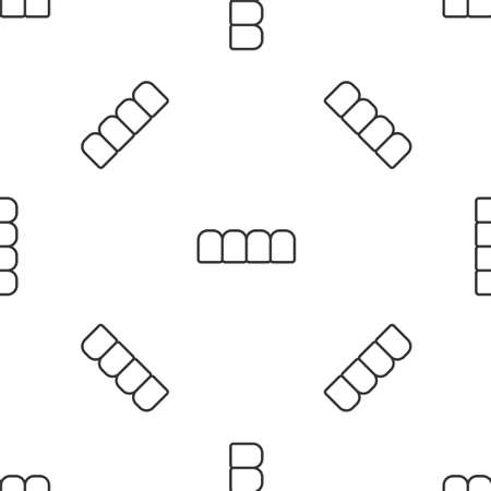 Grey line Dentures model icon isolated seamless pattern on white background. Teeth of the upper jaw. Dental concept. Vector