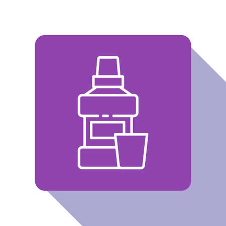 White line Mouthwash plastic bottle and glass icon isolated on white background. Liquid for rinsing mouth. Oralcare equipment. Purple square button. Vector