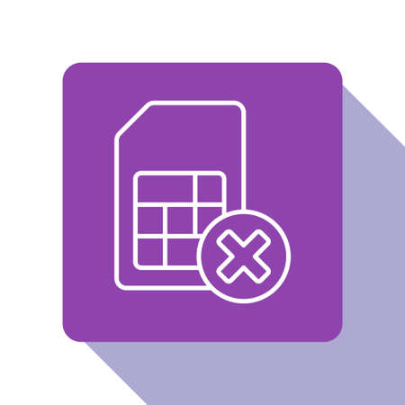 White line Sim card rejected icon isolated on white background. Mobile cellular phone sim card chip. Mobile telecommunications technology symbol. Purple square button. Vector