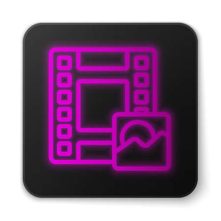 Glowing neon line Play Video icon isolated on white background. Film strip sign. Black square button. Vector