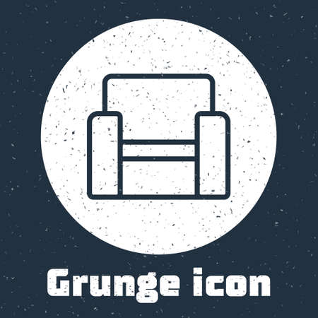 Grunge line Cinema chair icon isolated on grey background. Monochrome vintage drawing. Vector