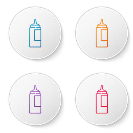 Color line Sauce bottle icon isolated on white background. Ketchup, mustard and mayonnaise bottles with sauce for fast food. Set icons in circle buttons. Vector