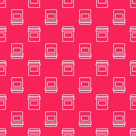 White line Jam jar icon isolated seamless pattern on red background. Vector Иллюстрация