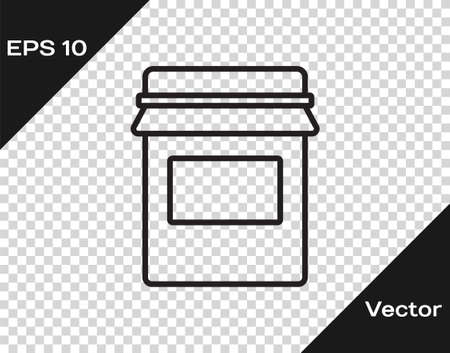 Black line Jam jar icon isolated on transparent background. Vector