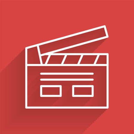White line Bollywood indian cinema icon isolated with long shadow. Movie clapper. Film clapper board. Cinema production or media industry. Vector