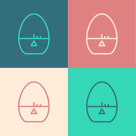 Pop art line Kitchen timer icon isolated on color background. Egg timer. Cooking utensil. Vector