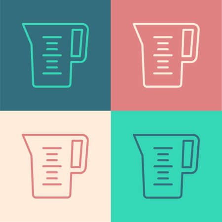 Pop art line Jug glass with water icon isolated on color background. Kettle for water. Glass decanter with drinking water. Vector Иллюстрация