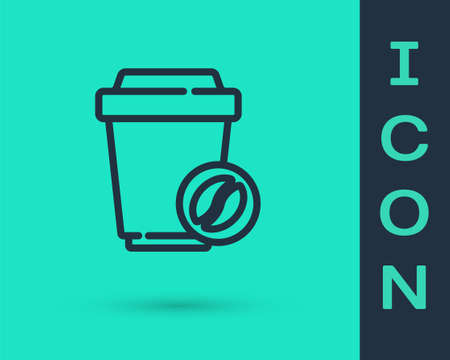 Black line Coffee cup to go icon isolated on green background. Vector