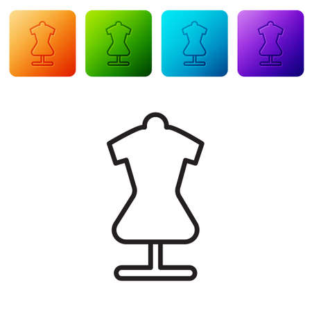 Black line Mannequin icon isolated on white background. Tailor dummy. Set icons in color square buttons. Vector