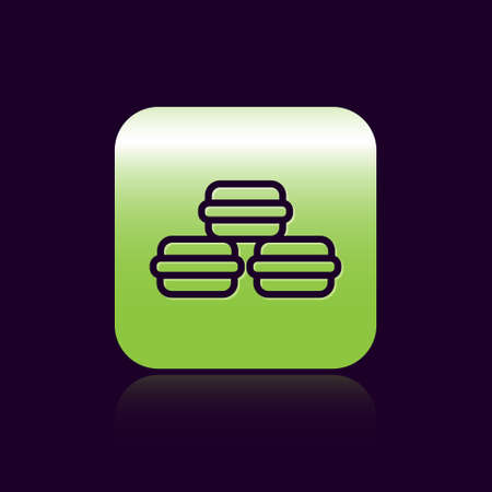 Black line Macaron cookie icon isolated on black background. Macaroon sweet bakery. Green square button. Vector 矢量图像