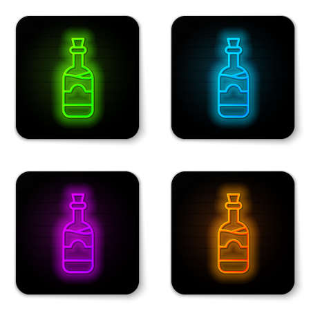 Glowing neon line Bottles of wine icon isolated on white background. Black square button. Vector