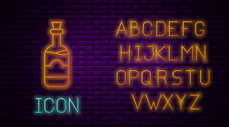 Glowing neon line Bottles of wine icon isolated on brick wall background. Neon light alphabet. Vector