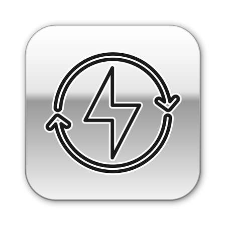 Black line Lightning bolt icon isolated on white background. Flash sign. Charge flash icon. Thunder bolt. Lighting strike. Silver square button. Vector