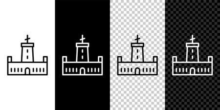 Set line Montjuic castle icon isolated on black and white background. Barcelona, Spain. Vector Illusztráció