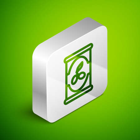 Isometric line Olives in can icon isolated on green background. Concept of canned food. Silver square button. Vector Иллюстрация