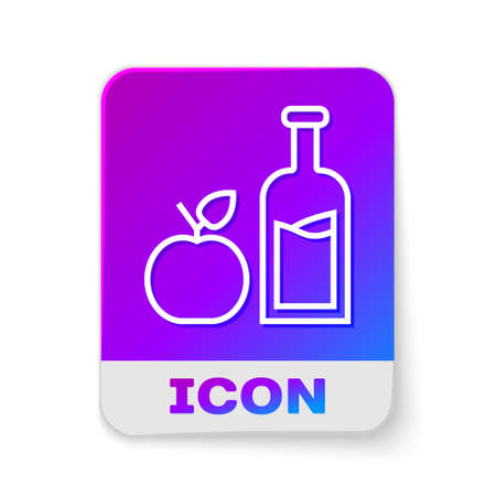 White line Apple cider bottle icon isolated on white background. Beverage glass bottle. Rectangle color button. Vector