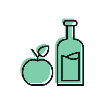 Black line Apple cider bottle icon isolated on white background. Beverage glass bottle. Vector Vettoriali