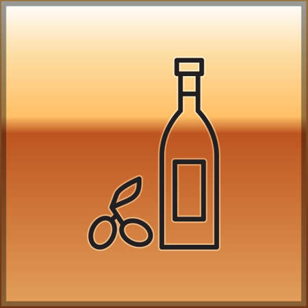Black line Bottle of olive oil icon isolated on gold background. Jug with olive oil icon. Vector Иллюстрация