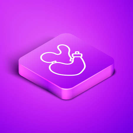 Isometric line Spanish wineskin icon isolated on purple background. Purple square button. Vector