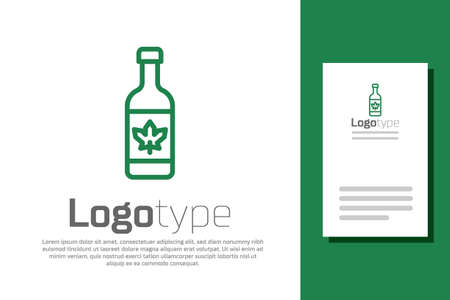 Green line Beer bottle icon isolated on white background.