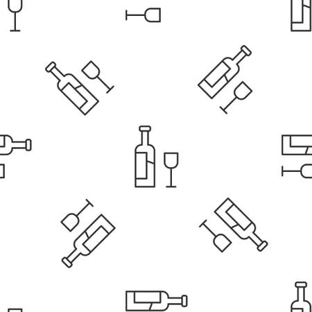 Grey line Wine bottle with glass icon isolated seamless pattern on white background. Vector
