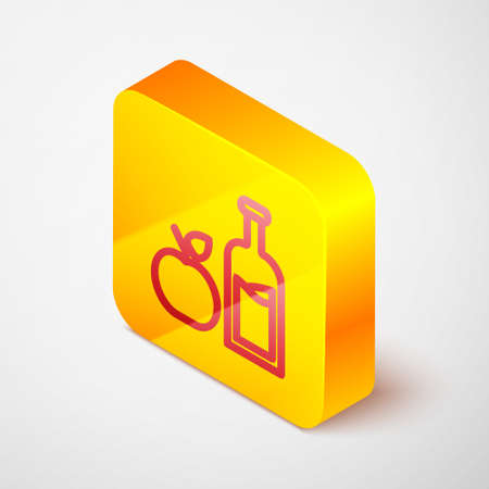 Isometric line Apple cider bottle icon isolated on grey background. Beverage glass bottle. Yellow square button. Vector Иллюстрация