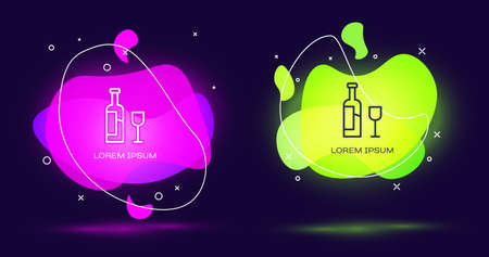 Line Wine bottle with glass icon isolated on black background. Abstract banner with liquid shapes. Vector Иллюстрация
