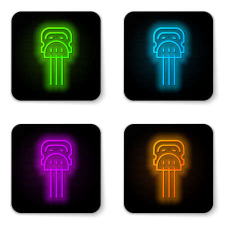 Glowing neon line Flamenco woman accessories icon isolated on white background. Peineta. Spanish comb. Black square button. Vector