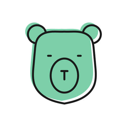 Black line Bear head icon isolated on white background. Vector