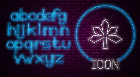 Glowing neon line Chestnut leaf icon isolated on brick wall background. Neon light alphabet. Vector