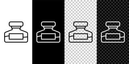 Set line Ink bottle icon isolated on black and white background. Calligraphy supplies for fountain pen. Vector Иллюстрация
