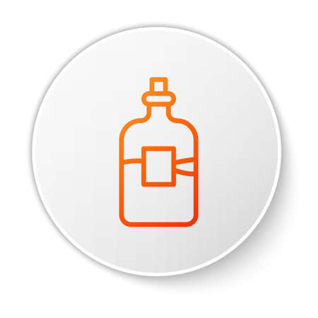 Orange line Glass bottle of vodka icon isolated on white background. White circle button. Vector