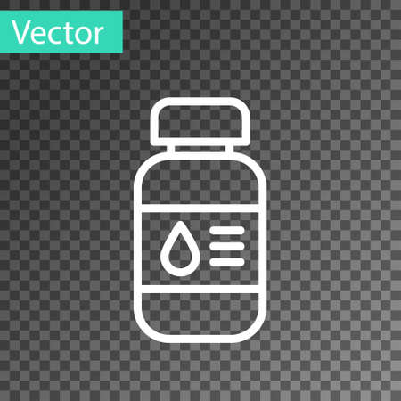 White line Printer ink bottle icon isolated on transparent background. Vector