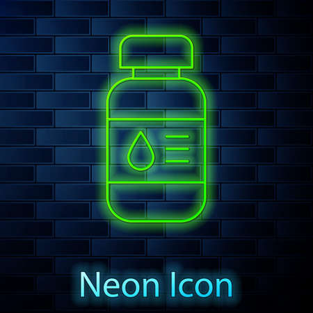Glowing neon line Printer ink bottle icon isolated on brick wall background. Vector Иллюстрация