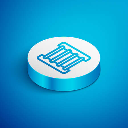 Isometric line Prison window icon isolated on blue background. White circle button. Vector