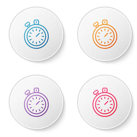 Color line Stopwatch icon isolated on white background. Time timer sign. Chronometer sign. Set icons in circle buttons. Vector