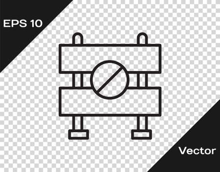 Black line Road barrier icon isolated on transparent background. Symbol of restricted area which are in under construction processes. Repair works. Vector