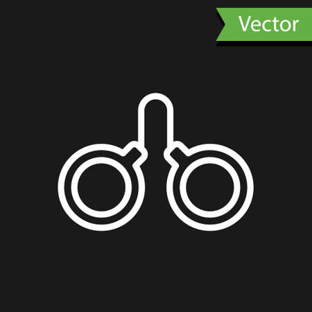 White line Handcuffs icon isolated on black background. Vector