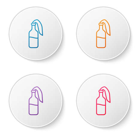 Color line Cocktail molotov icon isolated on white background. Set icons in circle buttons. Vector
