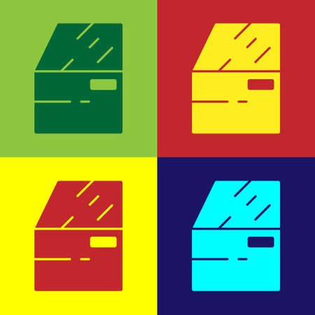 Pop art Car door icon isolated on color background. Vector