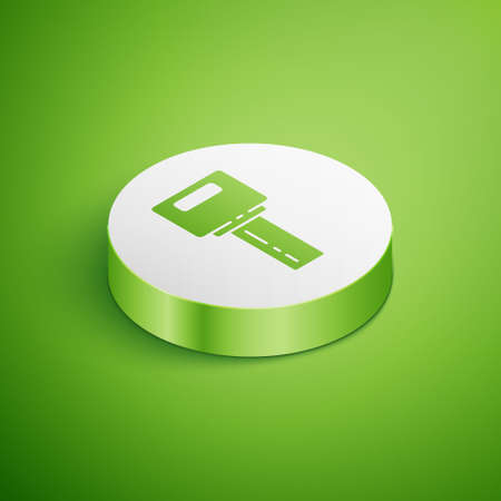Isometric Car key with remote icon isolated on green background. Car key and alarm system. White circle button. Vector 向量圖像