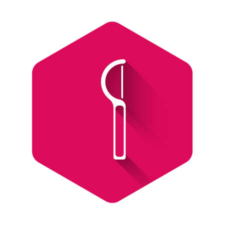 White Dental floss icon isolated with long shadow. Pink hexagon button. Vector