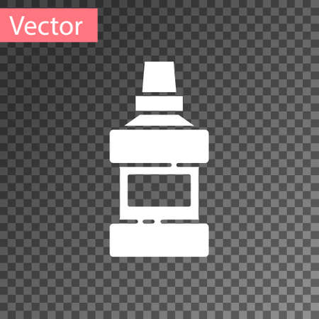 White Mouthwash plastic bottle and glass icon isolated on transparent background. Liquid for rinsing mouth. Oralcare equipment. Vector Illusztráció