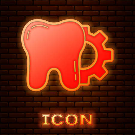 Glowing neon Tooth treatment procedure icon isolated on brick wall background. Tooth repair with gear. Vector