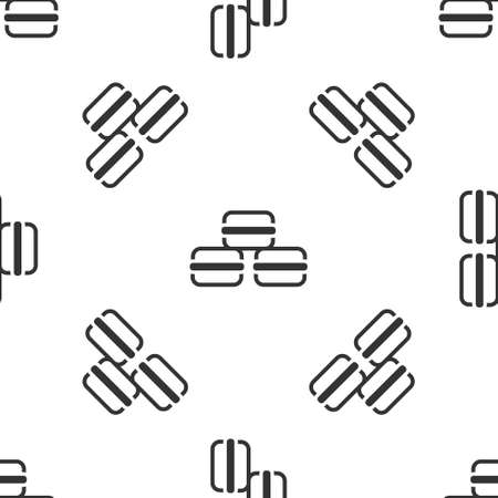 Grey Macaron cookie icon isolated seamless pattern on white background. Macaroon sweet bakery. Vector