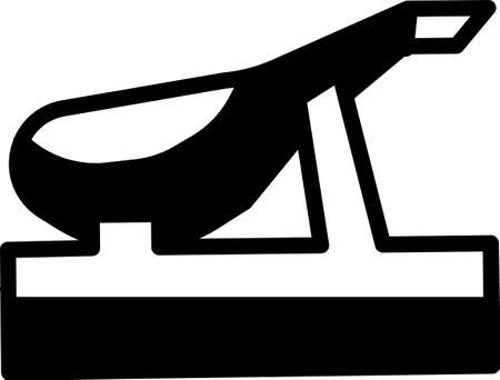 Black Spanish jamon on the wooden jamonera icon isolated on white background. Vector